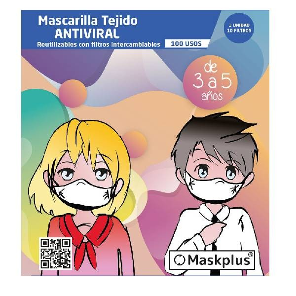 MaskPlus | Mascarilla Niño Tela Reutilizable Lavable - 10 Filtros
